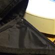 Część materiału na klapie wszyłem tak, by zginał się do wewnątrz; część z boku torby odwrotnie